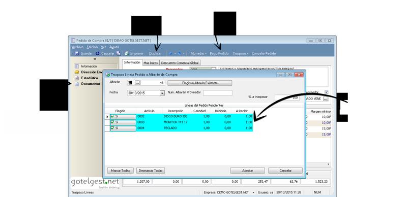 Disponga de toda la información básica del pedido - Software gestión comercial