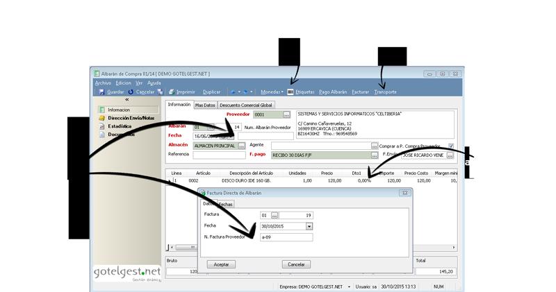 Podrá contar con enlaces directos para otros procesos de compra - Software gestión comercial
