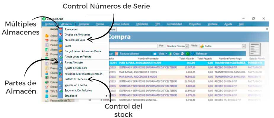 Control de Stock y números de serie, partes de almacén... - Software gestión de almacén