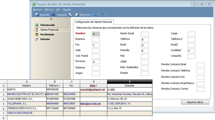 El módulo CRM te permite importar cualquier vista en la que te encuentres en formato Excel