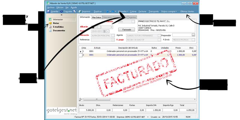 Gestione datos principales e información adicional de sus albaranes - Programa de facturación