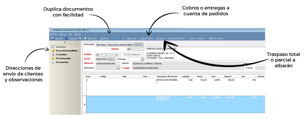 Reserve la mercancía solicitada en su almacén - Programa de facturación