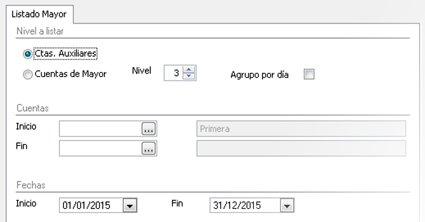 Seleccione la configuración de niveles deseada para los listados - Programa de contabilidad
