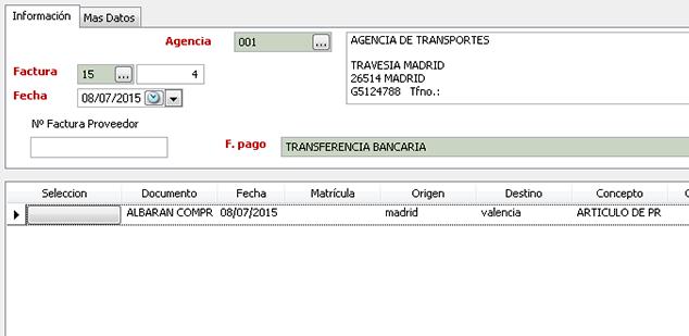 Información específica de las agencias de transporte - Software gestión comercial