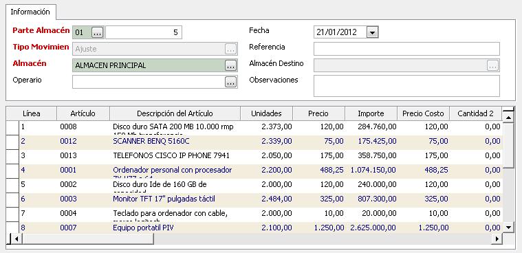 Partes de Almacén GotelGest.Net - Software gestión de almacén