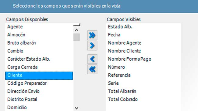 Vistas personalizadas - Software de gestion