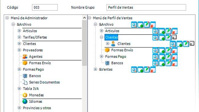 Mantenimiento de perfiles - Software de facturacion