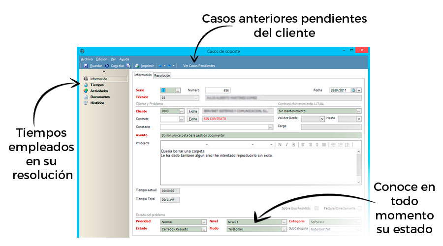Características Software CRM Atención al cliente de GotelGest.Net