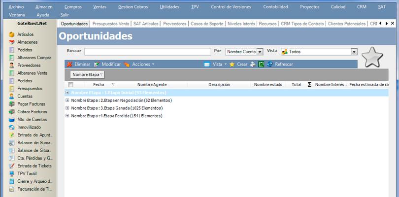 Personaliza informes derivados de oportunidades de negocio con el software gestion de ventas CRM de GotelGest.Net