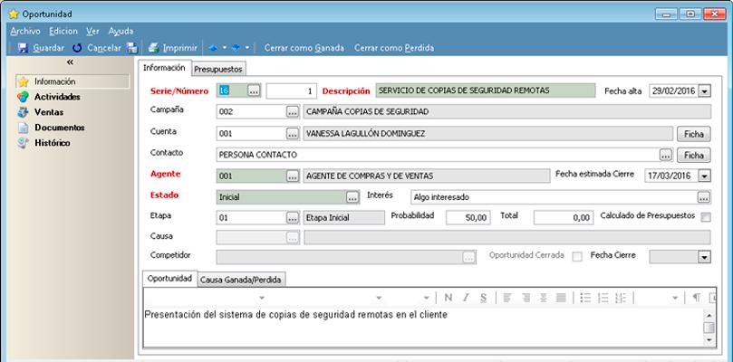 Realiza un detallado seguimiento de las oportunidades de negocio con el software gestión de ventas CRM